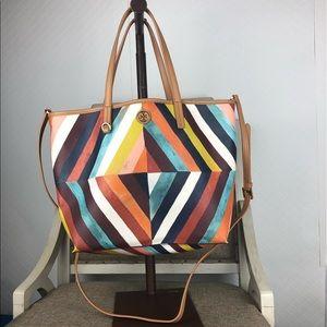 Tory Burch kerrington diamond striped satchel